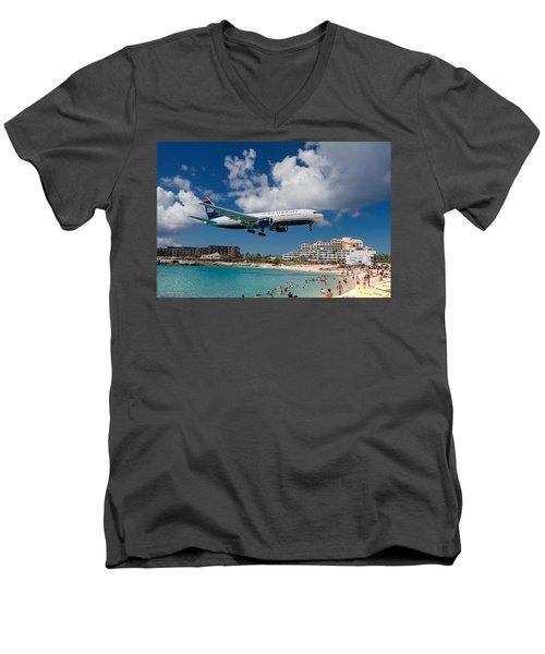 U S Airways Landing At St. Maarten Men's V-Neck T-Shirt