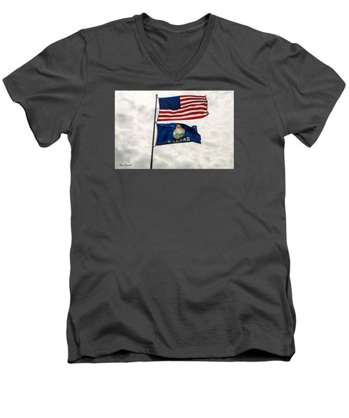 Us And Kansas Flags Men's V-Neck T-Shirt by Sue Smith