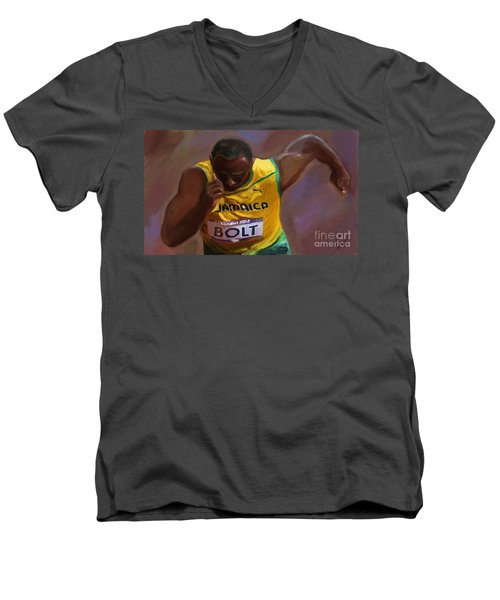 Men's V-Neck T-Shirt featuring the painting Usain Bolt 2012 Olympics by Vannetta Ferguson