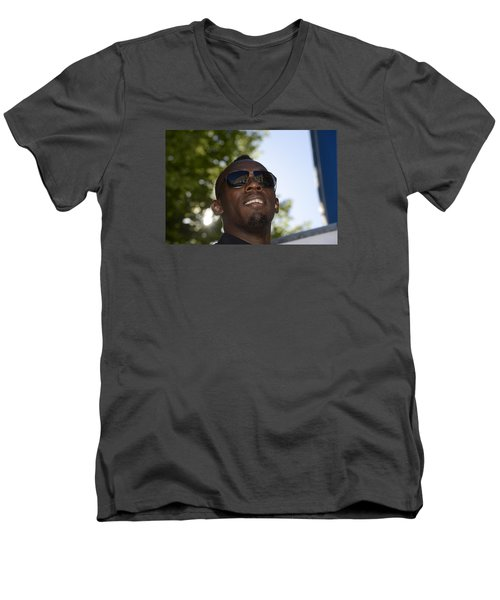 Men's V-Neck T-Shirt featuring the photograph Usain Bolt - The Legend 1 by Teo SITCHET-KANDA