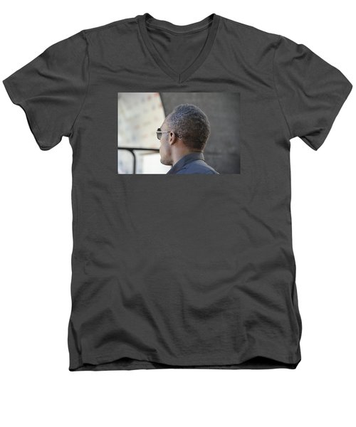 Men's V-Neck T-Shirt featuring the photograph Usain Bolt - The Legend 2 by Teo SITCHET-KANDA