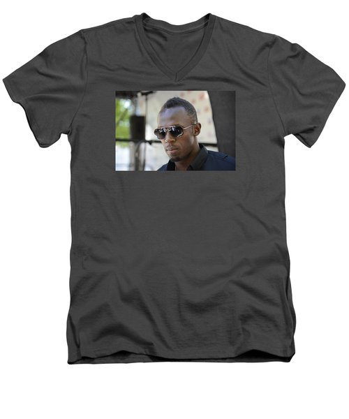 Men's V-Neck T-Shirt featuring the photograph Usain Bolt - The Legend 3 by Teo SITCHET-KANDA
