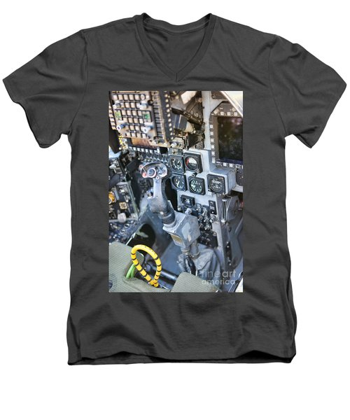 Usmc Av-8b Harrier Cockpit Men's V-Neck T-Shirt by Olga Hamilton