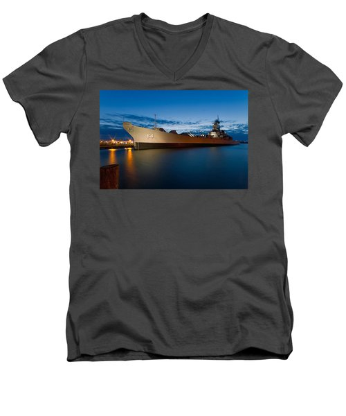 Uss Wisconsin At Sunset Men's V-Neck T-Shirt