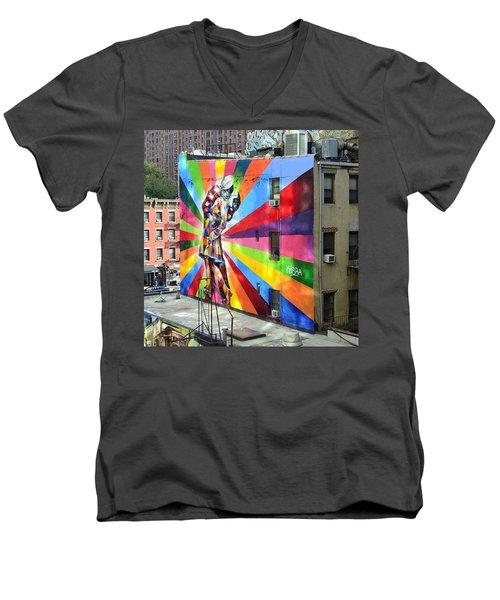 V - J Day Mural By Eduardo Kobra Men's V-Neck T-Shirt