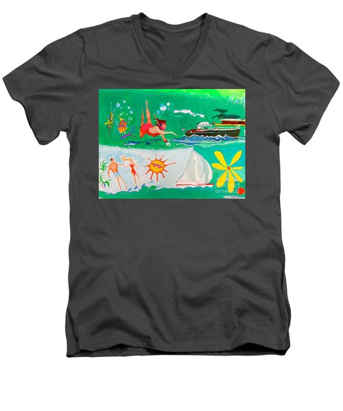 Men's V-Neck T-Shirt featuring the painting Vacation All I Ever Wanted by Beth Saffer