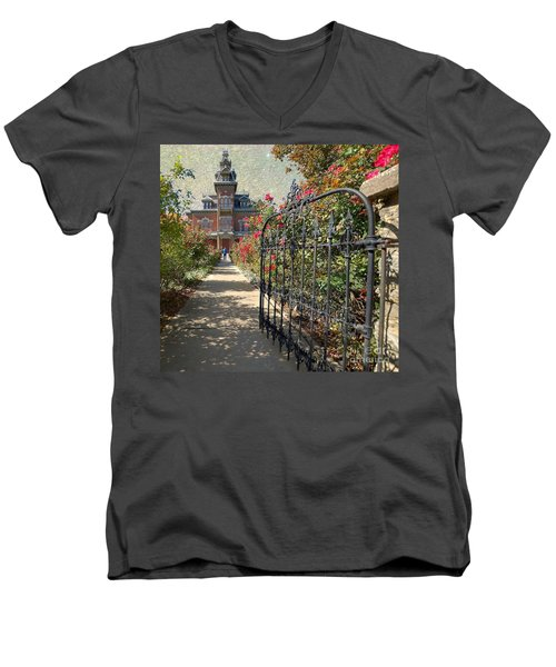 Vaile Landscape And Gate Men's V-Neck T-Shirt by Liane Wright