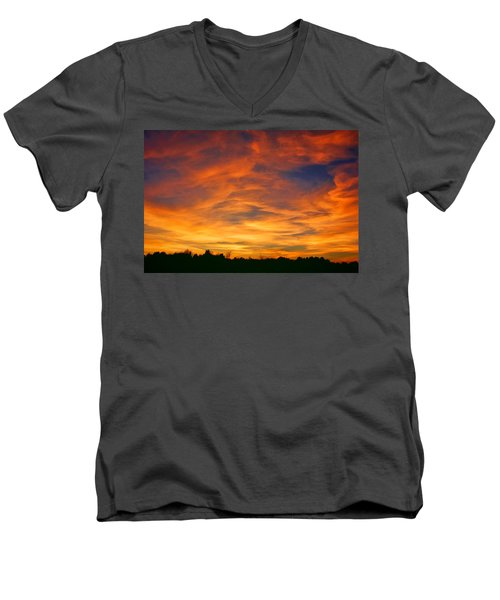 Men's V-Neck T-Shirt featuring the photograph Valentine Sunset by Tammy Espino