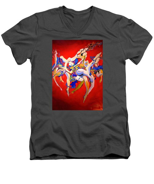 Men's V-Neck T-Shirt featuring the painting Valkyries by Georg Douglas