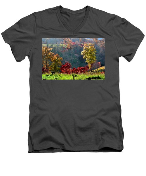 Men's V-Neck T-Shirt featuring the photograph Valley Sunshine by Deena Stoddard