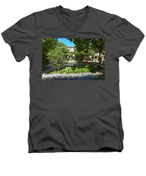 Men's V-Neck T-Shirt featuring the photograph Van Gogh - Courtyard In Arles by Allen Sheffield