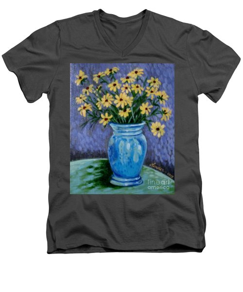 Van Gogh-ish Flowers In A Vase Men's V-Neck T-Shirt