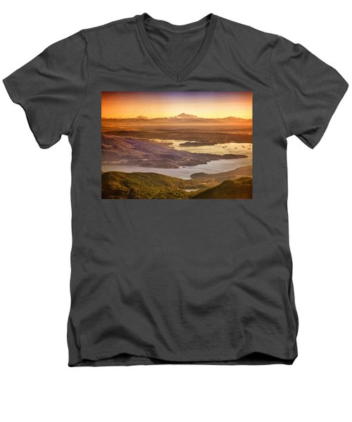 Vancouver And Mt Baker Aerial View Men's V-Neck T-Shirt by Eti Reid