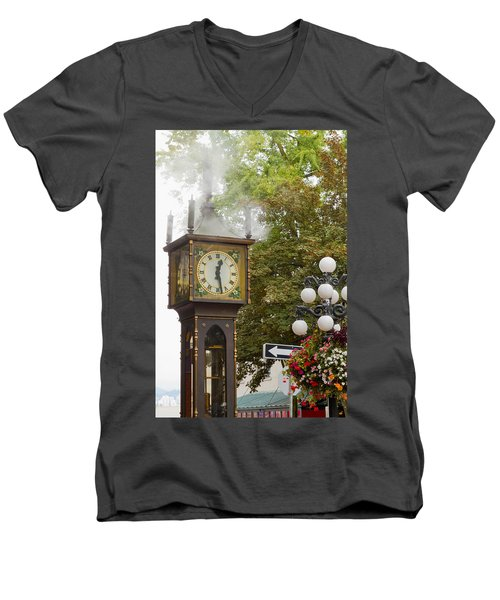 Men's V-Neck T-Shirt featuring the photograph Vancouver Bc Historic Gastown Steam Clock by JPLDesigns