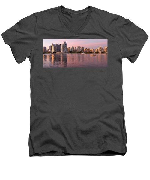 Men's V-Neck T-Shirt featuring the photograph Vancouver Bc Skyline Along False Creek At Dusk by JPLDesigns