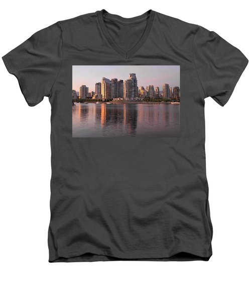 Men's V-Neck T-Shirt featuring the photograph Vancouver Bc Waterfront Condominiums by JPLDesigns