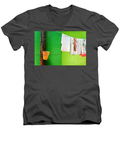 Men's V-Neck T-Shirt featuring the photograph Vase Towels And Green Wall by Silvia Ganora