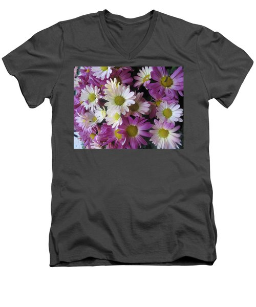 Men's V-Neck T-Shirt featuring the photograph Vegas Butterfly Garden Flowers Colorful Romantic Interior Decorations by Navin Joshi