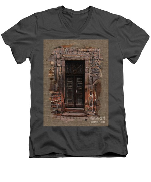 Men's V-Neck T-Shirt featuring the painting Venetian Door 02 Elena Yakubovich by Elena Yakubovich