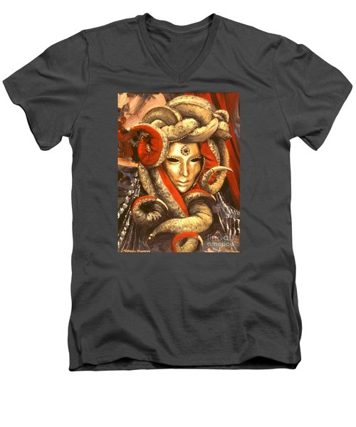Men's V-Neck T-Shirt featuring the painting Venetian Mystery Mask by Michael Swanson