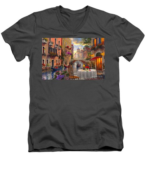 Venice Al Fresco Men's V-Neck T-Shirt by Dominic Davison