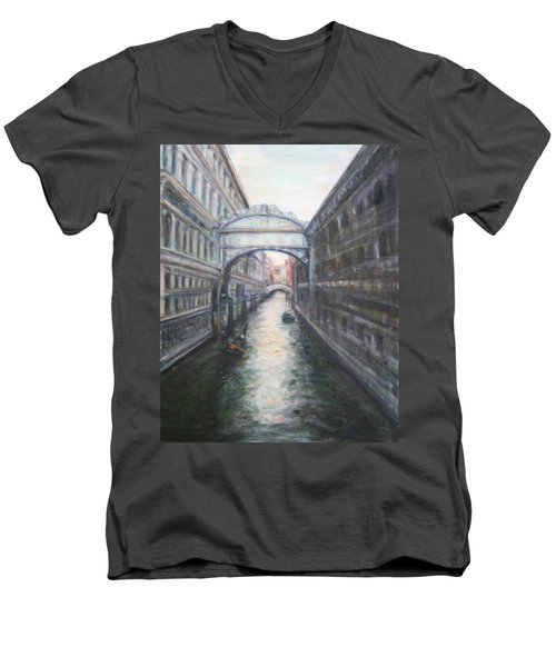 Venice Bridge Of Sighs - Original Oil Painting Men's V-Neck T-Shirt