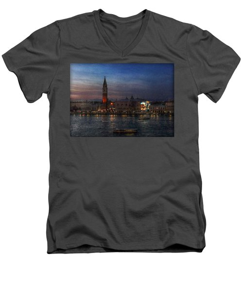 Men's V-Neck T-Shirt featuring the photograph Venice By Night by Hanny Heim