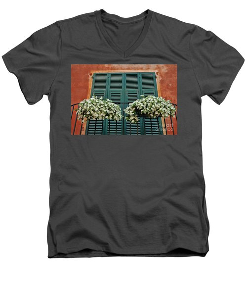 Men's V-Neck T-Shirt featuring the photograph Venice Flower Balcony 2 by Allen Beatty
