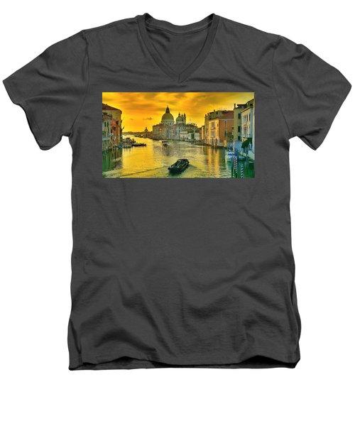 Golden Venice 3 Hdr - Italy Men's V-Neck T-Shirt by Maciek Froncisz