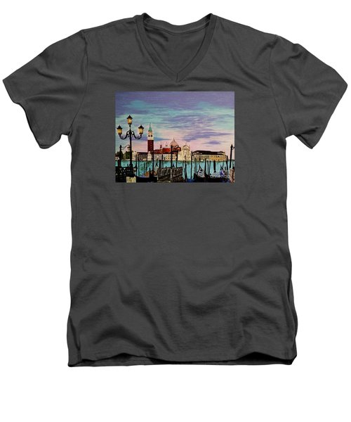 Men's V-Neck T-Shirt featuring the painting Venice  Italy By Jasna Gopic by Jasna Gopic