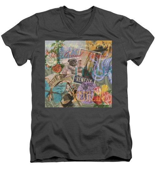 Venice Vintage Trendy Italy Travel Collage  Men's V-Neck T-Shirt