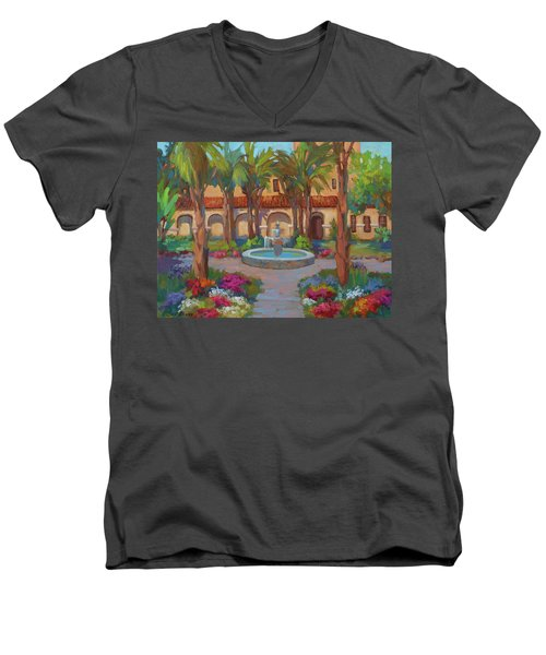 Ventura Mission Men's V-Neck T-Shirt by Diane McClary