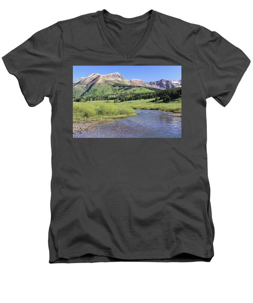 Verdant Valley Men's V-Neck T-Shirt by Eric Glaser