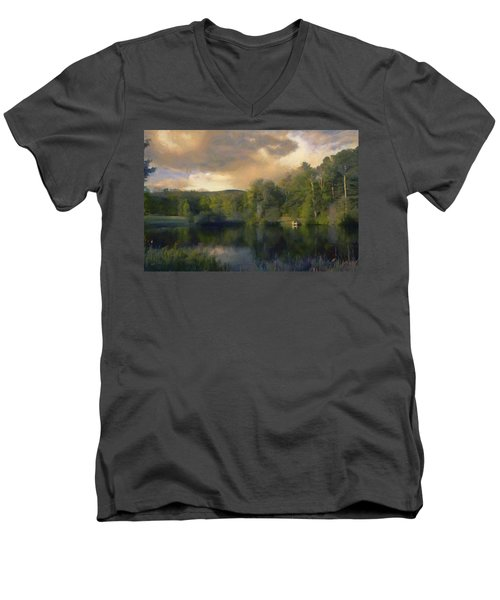 Men's V-Neck T-Shirt featuring the painting Vermont Morning Reflection by Jeff Kolker