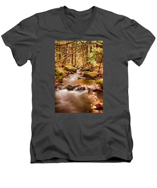 Men's V-Neck T-Shirt featuring the photograph Vermont Stream by Jeff Folger