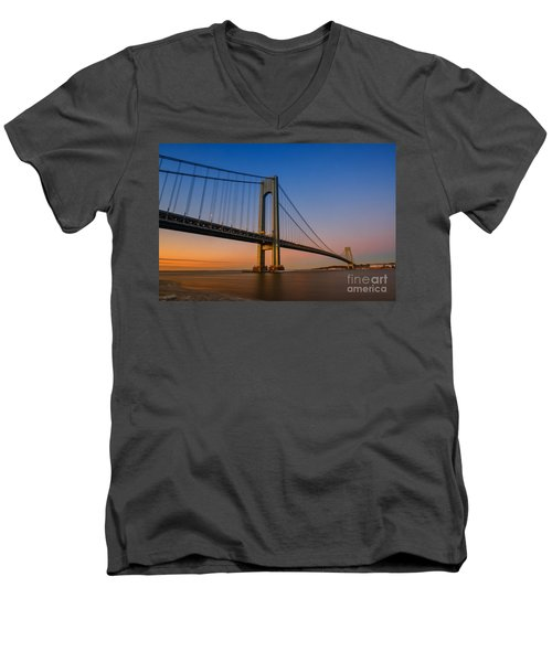 Verrazano Bridge Sunrise  Men's V-Neck T-Shirt by Michael Ver Sprill