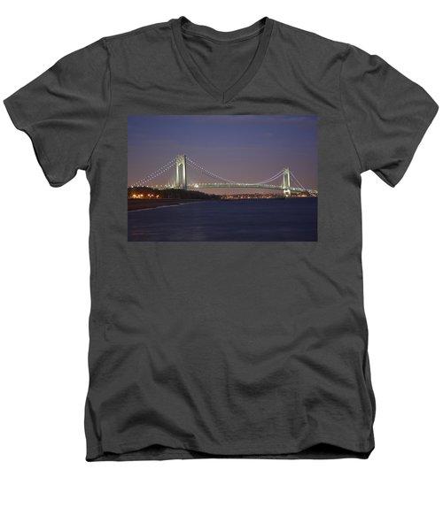 Verrazano Narrows Bridge At Night Men's V-Neck T-Shirt by Kenneth Cole