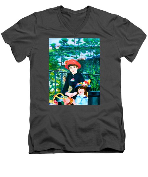 Men's V-Neck T-Shirt featuring the painting Version Of Renoir's Two Sisters On The Terrace by Lorna Maza
