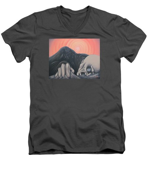 Men's V-Neck T-Shirt featuring the painting Vertigo by Michael  TMAD Finney