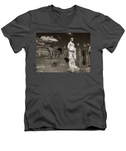 Vestal Virgin Courtyard Statue Men's V-Neck T-Shirt