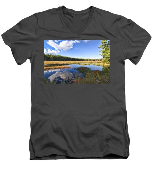 Vibrant Fall Scene Men's V-Neck T-Shirt