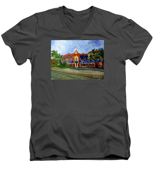 Vic And Angelos In Downtown Delray Beach Men's V-Neck T-Shirt