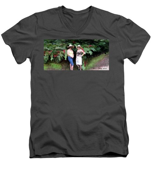 Men's V-Neck T-Shirt featuring the painting Victoria And Friend by Bruce Nutting