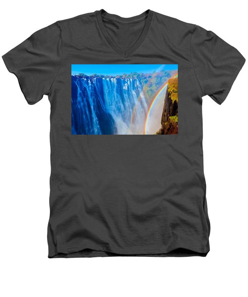 Victoria Falls Double Rainbow Men's V-Neck T-Shirt by Jeff at JSJ Photography