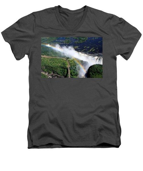 Rainbow Over Victoria Falls  Men's V-Neck T-Shirt by Aidan Moran