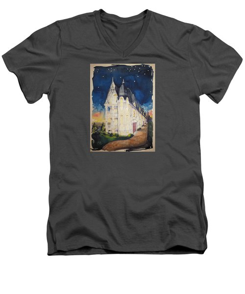 The Victorian Apartment Building By Rjfxx. Original Watercolor Painting. Men's V-Neck T-Shirt by RjFxx at beautifullart com