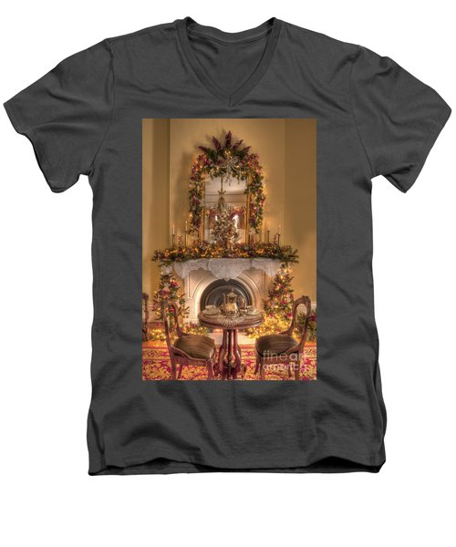 Victorian Christmas By The Fire Men's V-Neck T-Shirt