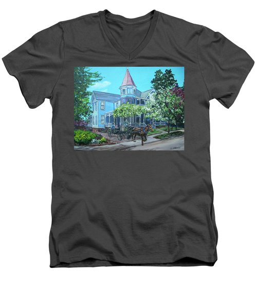 Men's V-Neck T-Shirt featuring the painting Victorian Greenville by Bryan Bustard
