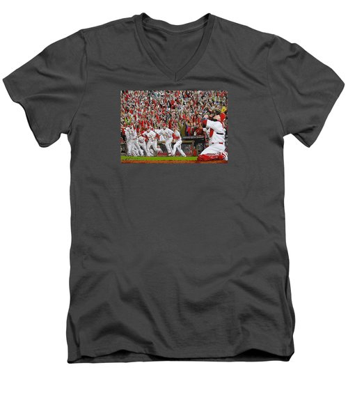 Victory - St Louis Cardinals Win The World Series Title - Friday Oct 28th 2011 Men's V-Neck T-Shirt by Dan Haraga
