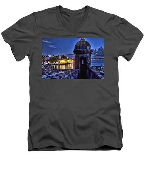 Viejo San Juan En La Noche Men's V-Neck T-Shirt by Daniel Sheldon